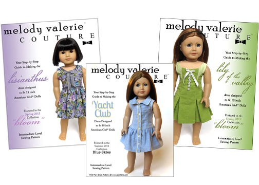 18 inch doll clothes patterns Melody Valerie Couture