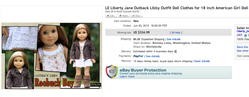 Roebuck Bay Final Bid Price Liberty Jane